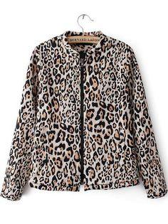 Leopard Long Sleeve Zipper Pockets Jacket pictures