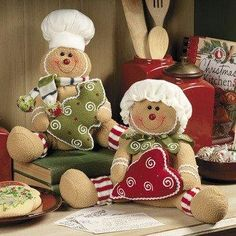 Soft Christmas Gingerbread Couple dolls
