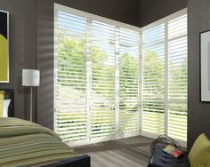 The style of wood, the stability of advanced modern materials, and ultimate bedroom light control––NewStyle® hybrid shutters ♦ Hunter Douglas window treatments - Pinned by Traditional Home New Trad Designer: Andrew Maier Interior Window Shutters, Interior Windows, Bedroom Shutters, Exterior Shutters, Bedroom Windows, Custom Shutters, Wood Shutters, Hunter Douglas Shutters, Contemporary Window Treatments