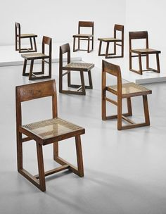 View Set of eight chairs, model no. from Punjab University, Chandigarh by Pierre Jeanneret sold at Design Masters on New York Auction 15 December 2015 Learn more about the piece and artist, and its final selling price Indian Furniture, My Furniture, Woodworking Furniture, Vintage Furniture, Furniture Design, Old Chairs, Metal Chairs, Dining Table Chairs, Artist Chair