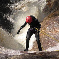 Abseiling down a waterfall, Machinery Canyon Tasmania Abseiling, Mountain Range, Mountaineering, Tasmania, Riding Helmets, Waterfall, Tours, Adventure, Mountain Climbing