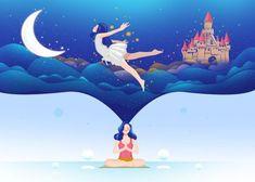 Blue Yoga Motivation Inspiration Spiritual Moon Castle Fly Yoga Illustration, Creative Illustration, Graphic Design Illustration, Digital Illustration, Art Drawings For Kids, Web Design Inspiration, Illustrations Posters, Vector Art, Design Art