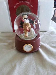 The Saturday Evening Musical Snow Globe Clock  Norman by RosiesHut, $20.00