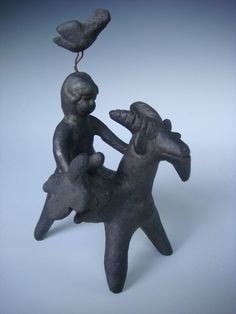"Vintage Mexican ceramic Acatlan rider on goat by HERON MARTINEZ 5"" x 7"""
