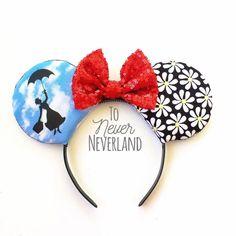 Mary Poppins Ears, Mary Poppins Mickey Ears, Mary Poppins Minnie Ears, Mary Poppins Mouse Ears, Mickey Ears, Mary Poppins Ears Headband by ToNeverNeverland on Etsy https://www.etsy.com/listing/515786561/mary-poppins-ears-mary-poppins-mickey