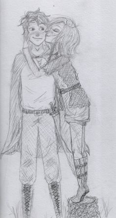 Horace and Evanlyn (Cassandra), from Ranger's Aprentice, by John Flanagan. Her hero. Ranger's Apprentice, Marissa Meyer Books, Couple Sketch, The Best Series Ever, The Book Thief, Chronicles Of Narnia, Character Creation, Book Fandoms, Love Pictures