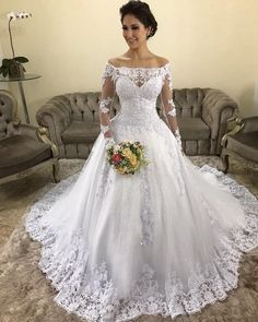 White Wedding Dresses A Line Bateau Strapless Sleeveless Sweep Train Applique Sequins Lace 2019 Beach Boho Wedding Bridal Gowns White Wedding Dresses, Bridal Dresses, Wedding Gowns, Couture Dresses, Wedding Attire, Boho Wedding, Mermaid Wedding, Lace Ball Gowns, Beautiful Gowns