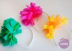 Vincha flores pompon flecos tela Casamientos Cotillon Bodas Eventos