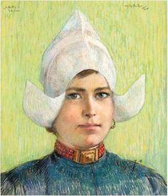 Willy Sluiter Portret van Hille Butter (1891-1968), 1915 Enkhuizen, Zuiderzeemuseum werkzaam in het Hotel Spaander te Volendam, waar talrijke kunstenaars logeerden; ze was een geliefd model en bevriend met vele kunstenaars. #NoordHolland #Volendam