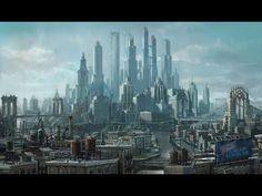 Saints Row 4 Steelport concept art by Volition. Cyberpunk City, Futuristic City, Futuristic Architecture, Fantasy City, Fantasy Places, Fantasy World, Fantasy Castle, Cry Anime, Anime Art