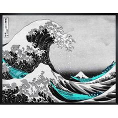 Bloomsbury Market 'The Great Wave' by Katsushika Hokusai Rectangle Framed Painting Print in Black, Gray and Teal Size: