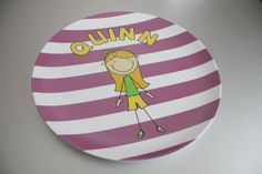Super adorable personalized plates for kids, available in many color choices - customize the child to look like yours!