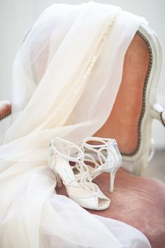 Photography : Lauren Michelle | Brides Shoes : Jimmy Choo Read More on SMP: http://www.stylemepretty.com/little-black-book-blog/2016/01/04/french-chateau-wedding-sparkly-gold-dress/
