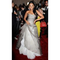 Jennifer Lopez Grey And White Prom Dress Customized 2011 Met Ball Red Carpet