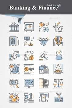 Buy Banking and Finance Icon by AldanNa on GraphicRiver. Trendy flat and line Banking and Finance icons collection Web Design, Icon Design, Banks Lyrics, Real Estate Icons, Finance Logo, Infographic Templates, Infographics, Icon Collection, Budgeting Finances