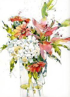 April Bouquet in pen and watercolour