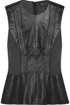 Derek Lam | Leather and merino wool-jersey top