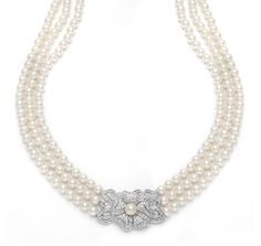 Ivory Pearl and Pave Cubic Zirconia 3 Strand Necklace