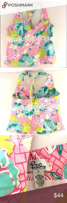 🌴LILLY PULITZER BACKLESS FLORAL Top shirt 10🌴 LILLY PULITZER floral halter top - size 10 should fit a size 8, too. Lilly Pulitzer Tops Blouses