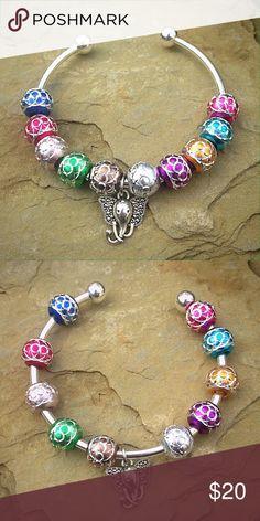 Silver tone bead elephant charm bracelet Bohemian colorful elephant bracelet. Jewelry Bracelets