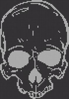 Alpha friendship bracelet pattern added by skull bones skeleton head. Embroidery Shop, Cross Stitch Embroidery, Embroidery Patterns, Knitting Patterns, Crochet Patterns, Cross Stitch Skull, Cross Stitch Charts, Cross Stitch Patterns, Pixel Art