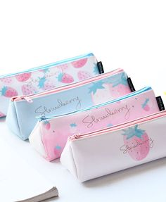 With a sleek shape and pastel color leather this pencil case has cute yet stylish look. It is perfect for storing all your necessary writing tools while on the go. Stationary School, Cute Stationary, School Accessories, Kawaii Accessories, Pencil Bags, Pencil Pouch, Pouch Bag, School Equipment, Cute Pencil Case