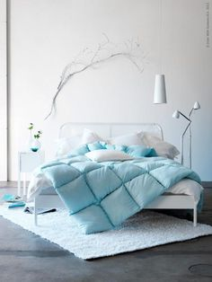 bedrom ikea guest room simple tiffany blue white - Duken Bed Frame