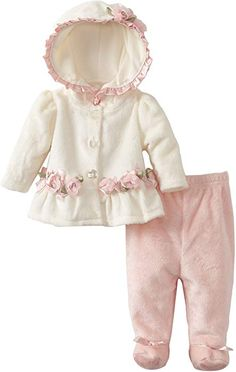Vitamins Baby-girls Newborn 2 Piece Rosette Footed Pant Set, Ivory, 6 Months - Girls 2 piece hooded super plush pant set with rosette detail Product Features Footed pant Super soft fabric Little Girl Fashion, Little Girl Dresses, Kids Fashion, Fashion Outfits, Toddler Outfits, Baby Outfits, Kids Outfits, Cute Baby Clothes, Doll Clothes