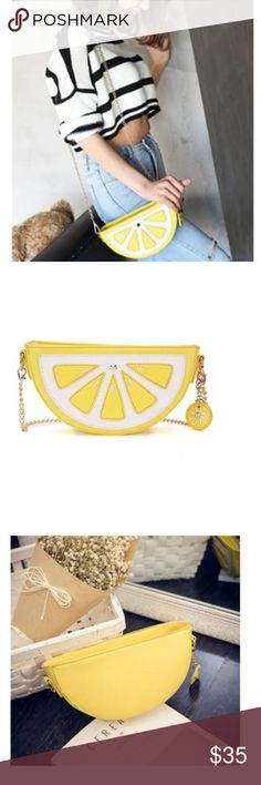 Lemon Cross Body Bag Material is man-made leather Fully lined  Please see last photo for dimensions Bags Crossbody Bags
