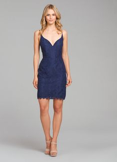 92f0cccbfc2 Style 5862 Hayley Paige Occasions bridesmaids dress - Navy lace A-line bridesmaids  mini dress