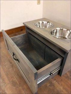Shaker Style Raised Dog Feeder With Storage Drawer - Hunde - Dog Food Storage, Wood Storage, Storage Drawers, Kitchen Storage, Raised Dog Feeder, Raised Dog Bowls, Elevated Dog Bowls, Dog Feeding Station, Dog Furniture