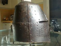??? Late 14th century great helm.  Sothebys.