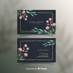 Floral with golden lines business card F. Free Business Cards, Professional Business Cards, Business Card Logo, Business Card Design, Bussiness Card, Artist Card, Graphic Design Tips, Photoshop Design, Vector Freepik