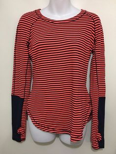 964af27c220 Lululemon Womens 6 Pullover Top Black Orange Striped Long-Sleeve Thumb  Holes