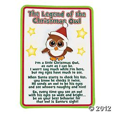 """The Legend Of The Christmas Owl"" Pins On Cards. Whooo's been naughty and nice? Cute ""The Legend Of The Christmas Owl"" Pins On . Christmas Poems, Christmas Activities, A Christmas Story, Little Christmas, Christmas Printables, Christmas Projects, Christmas Traditions, All Things Christmas, Holiday Crafts"