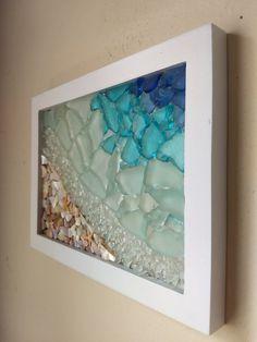 Framed Sea Glass Shoreline – In-house Factory Sea Glass Crafts, Sea Crafts, Sea Glass Art, Sea Glass Decor, Glass Vase, Seashell Art, Seashell Crafts, Mosaic Art, Mosaic Glass