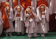 Pequeños Monjes Budistas en Seúl, Corea.