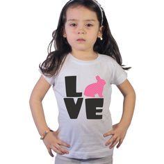 Love Easter Bunny Shirt for Girls or Baby Bodysuit by shirtsbynany on Etsy