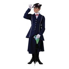 Look practically perfect at your next costume party in this Mary Poppins Womens costume. Never a happier crew then those that hang out with Mary Poppins! This great costume features a jacket, skirt, collar piece with attached bow, hat and umbrella co Mary Poppins Outfit, Mary Poppins Kostüm, Mary Poppins Fancy Dress, Diy Mary Poppins Costume, Book Day Costumes, Fancy Costumes, Adult Costumes, Costumes For Women, Costume Ideas