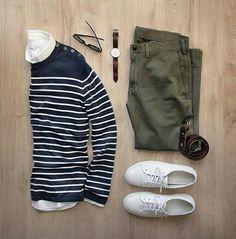 Green pants + stripes sweater =