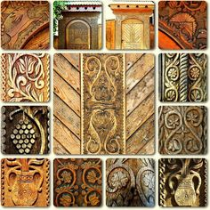Hungarian folkart Chip Carving, Wood Carving, Wooden Gates, Headboard And Footboard, Wood Ornaments, World Cultures, Hungary, Old World, Animal Print Rug