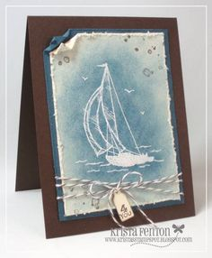 Stamp Spot: Sponged Sail Away Boy Cards, Cute Cards, Kirigami, Nautical Cards, Beach Cards, Birthday Cards For Men, Male Birthday, Masculine Cards, Card Tags