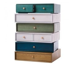 Stackable drawers. Genius. Would combine a couple of these with a vintage crate/chest for a great nightstand.