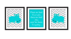 Nursery art First we have each other two hippo by babiesartroom, $45.00
