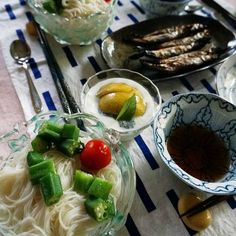 bkf = cold Somen fine noodle topped with okura and tomato, grilled smelts…