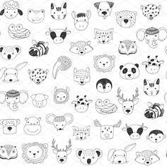 Cute animal faces with funny glasses doodle seamless pattern , Astronaut Illustration, Face Illustration, Amazing Drawings, Easy Drawings, Face Doodles, Easy Doodle Art, Animal Doodles, Karten Diy, Easy Animals