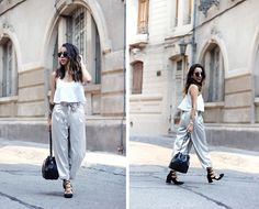 Get this look: http://lb.nu/look/8589569  More looks by Vivi Valenzuela: http://lb.nu/fashionismygf  Items in this look:  Zara White Crop Top, Zara Metallic Culottes, Michael Kors Mk Bucket Bag, Zara Lace Up Heels   #casual #chic #minimal #culottes #metallic #fashion #ootd #zara #laceup