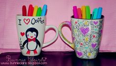 Bunnieclaire: Decorate Ceramic Mugs with SHARPIES/ Permanent markers