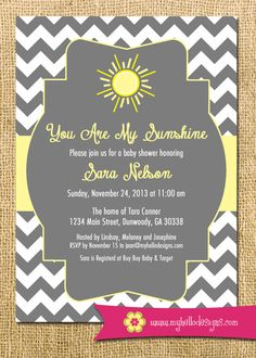 Printable Sunshine Invitation   You Are My Sunshine Invite DIY   Sun  Sunshine Chevron Cheery Baby