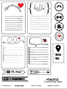 FREE Printable Download - Whimsical Journaling Cards. / Imprimibles de tarjetitas monas e iconos, de remember, hello, etc.